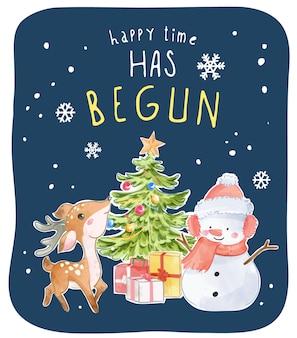 Happy time slogan met sneeuwpop en rendieren groet illustratie