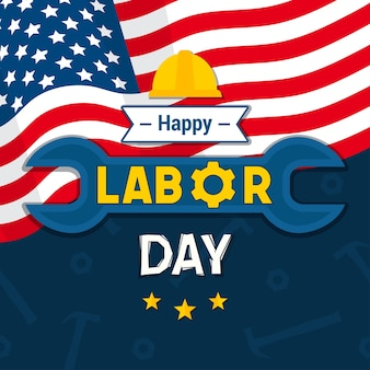 Happy usa labor day in plat ontwerp