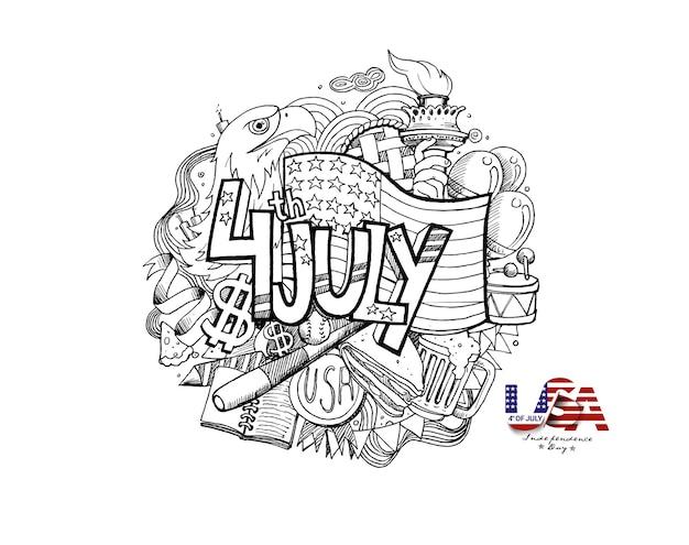 Happy usa onafhankelijkheidsdag 4 juli. wenskaart en poster design - hand tekenen schets vectorillustratie.