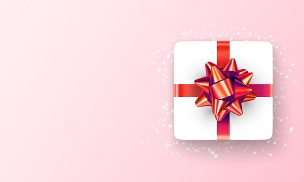 Happy valentijnsdag achtergrond met 3d-cadeau