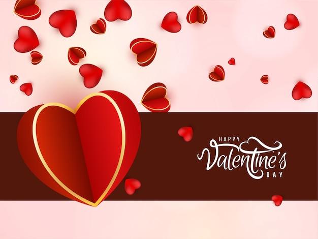 Happy valentijnsdag achtergrond met hartjes Premium Vector