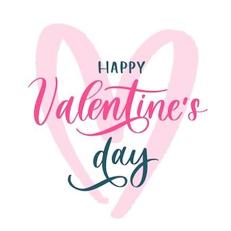 Happy valentijnsdag achtergrond met letters en roze hart. vakantie kaart illustratie op witte achtergrond.