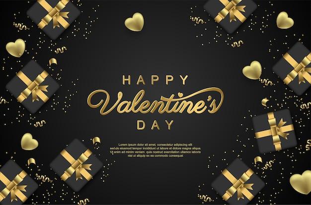 Happy valentijnsdag achtergrond met realistische geschenkdoos en lint