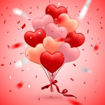Happy valentijnsdag achtergrond, rode ballon in de vorm van een hart met strik, lint en confetti.