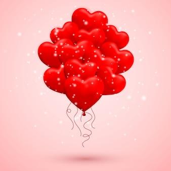 Happy valentijnsdag achtergrond, rode ballon in vorm van hart met lint en boog.