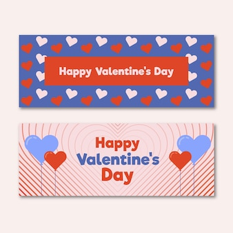 Happy valentijnsdag banner met kleine harten