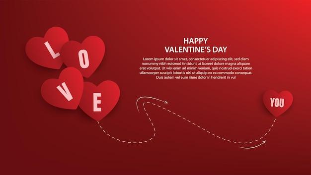 Happy valentijnsdag banner ontwerp. vector illustratie