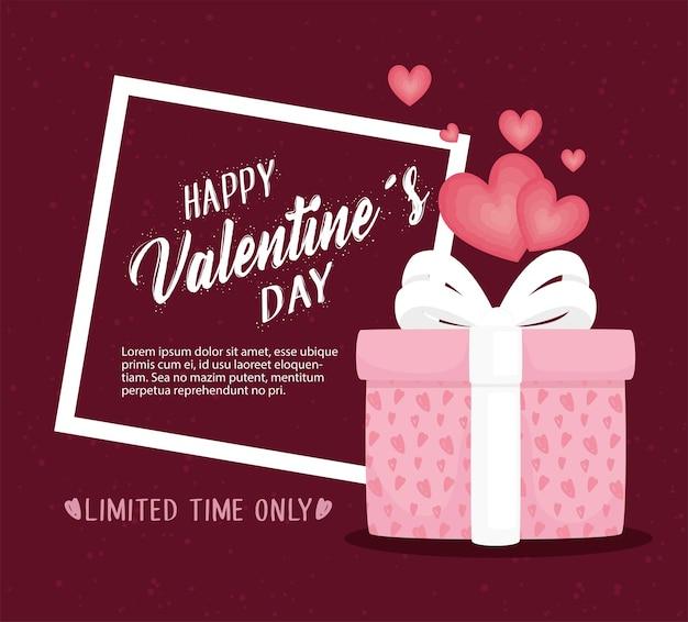 Happy valentijnsdag belettering kaart met cadeau en harten illustratie