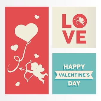 Happy valentijnsdag belettering kaart met cupido engel en hart zwevend