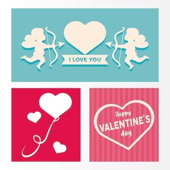 Happy valentijnsdag belettering kaart met cupido engelen en harten