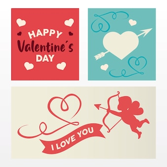 Happy valentijnsdag belettering kaart met engel en harten