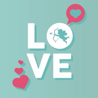 Happy valentijnsdag belettering kaart met engel verliefd hart