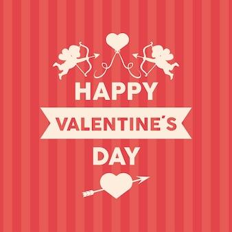 Happy valentijnsdag belettering kaart met engelen en lint frame