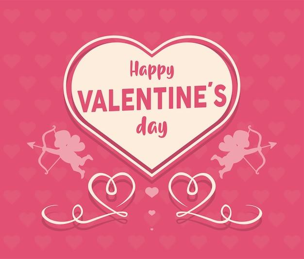 Happy valentijnsdag belettering kaart met hart en cupido-engelen