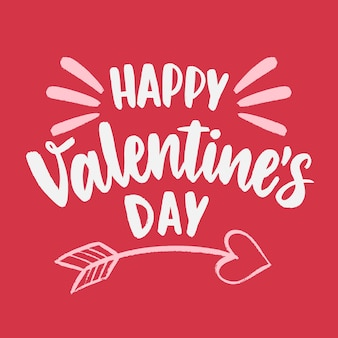 Happy valentijnsdag belettering met cupid pijl