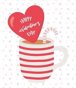 Happy valentijnsdag, cup chocolade met rood hart en snoepgoed