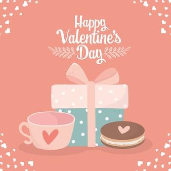 Happy valentijnsdag decoratieve geschenkdoos en zoete koekjes liefde