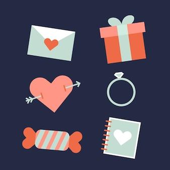 Happy valentijnsdag elementen in plat ontwerp