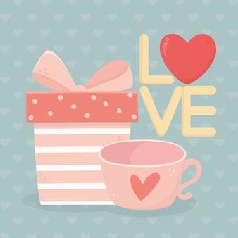 Happy valentijnsdag gestreepte geschenkdoos en koffiekopje harten kaart