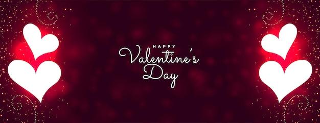 Happy valentijnsdag gloeiende sparkles banner ontwerp