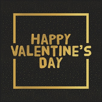 Happy valentijnsdag gouden letters. greating kaart vectorillustratie
