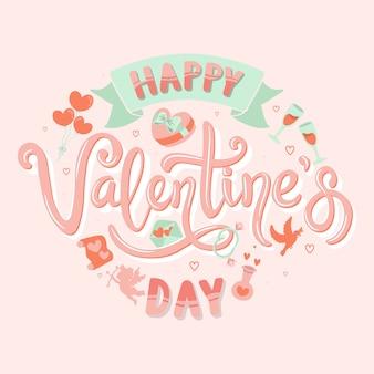 Happy valentijnsdag handgeschreven kalligrafie