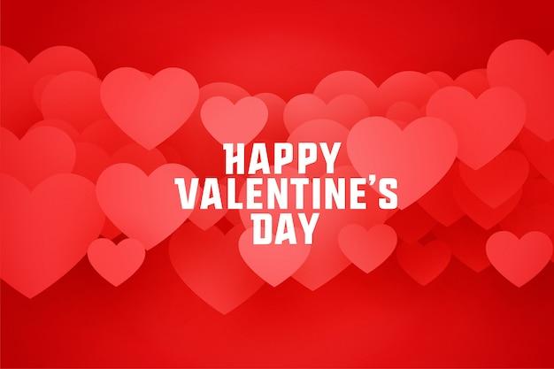 Happy valentijnsdag harten wenskaart in 3d-stijl