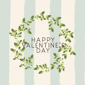 Happy valentijnsdag kaart met bladeren kroon
