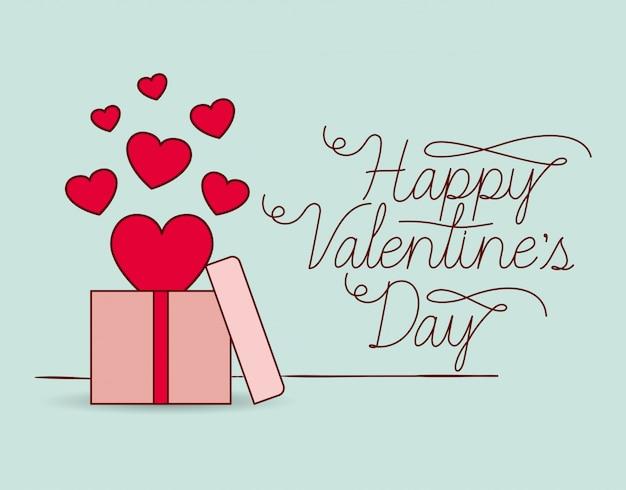 Happy valentijnsdag kaart met cadeau
