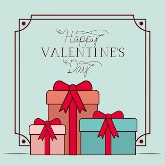 Happy valentijnsdag kaart met geschenken