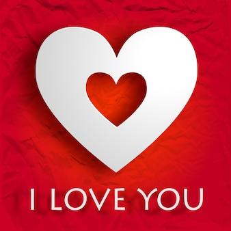 Happy valentijnsdag kaart met inscriptie en wit hart op verfrommeld papier geïsoleerde vectorillustratie
