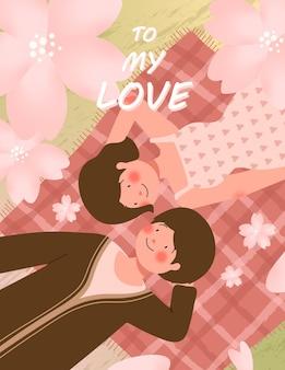 Happy valentijnsdag kaart met leuk paar op picknick tijdens romantische datum vectorillustratie