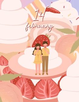 Happy valentijnsdag kaart met schattige paar en dessert illustratie