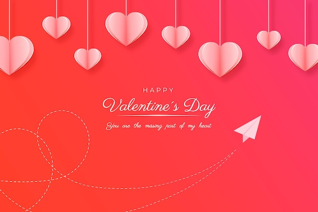 Happy valentijnsdag kaart op papierstijl