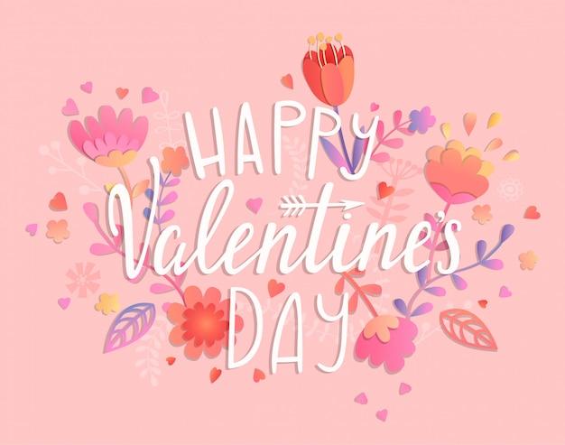 Happy valentijnsdag kaart op roze achtergrond.