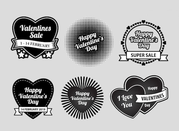 Happy valentijnsdag label badges