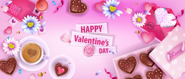 Happy valentijnsdag liefde vector plat lag achtergrond met kamille, enveloppen, koffiekopje, koekjes. vakantie romantische bovenaanzicht banner, desserts, harten, bloemblaadjes. valentijnsdag lay-out achtergrond