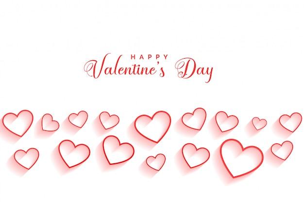 Happy valentijnsdag lijn harten