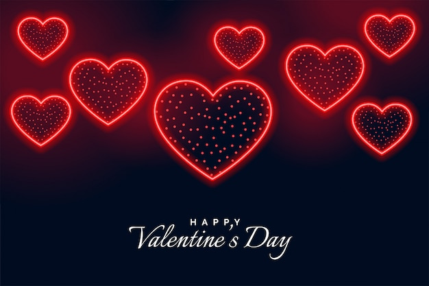 Happy valentijnsdag neon stijl wenskaart