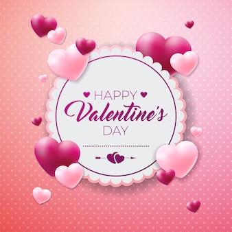 Happy valentijnsdag ontwerp met rood hart op glanzende achtergrond.