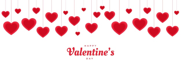 Happy valentijnsdag opknoping decoratieve harten banner