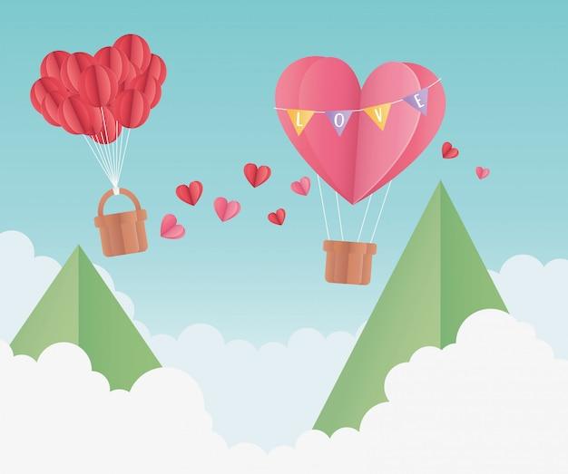 Happy valentijnsdag origami papier lucht ballon hart ballonnen bergen wolken