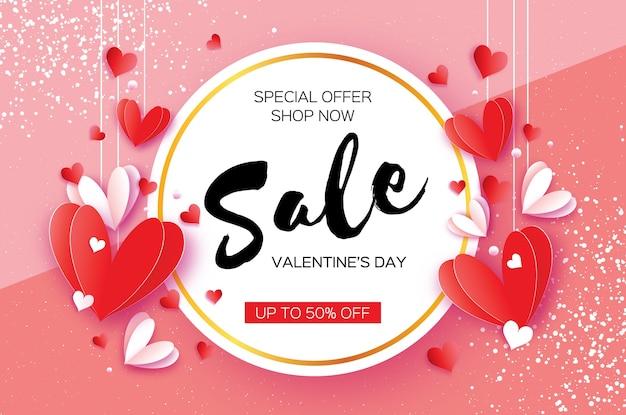 Happy valentijnsdag origami rode witte harten in papierstijl knippen ruimte voor tekst tekst romantische feestdagen liefde februari verkoop banner