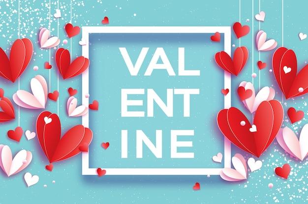 Happy valentijnsdag origami rood-witte harten in papier gesneden stijl romantische feestdagen liefde februari