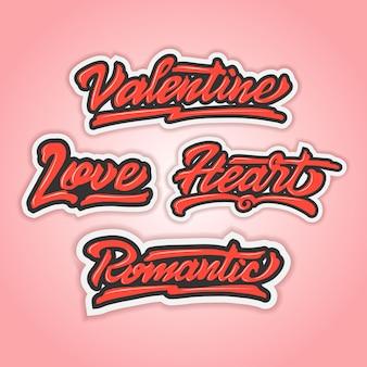 Happy valentijnsdag pack hand belettering vector