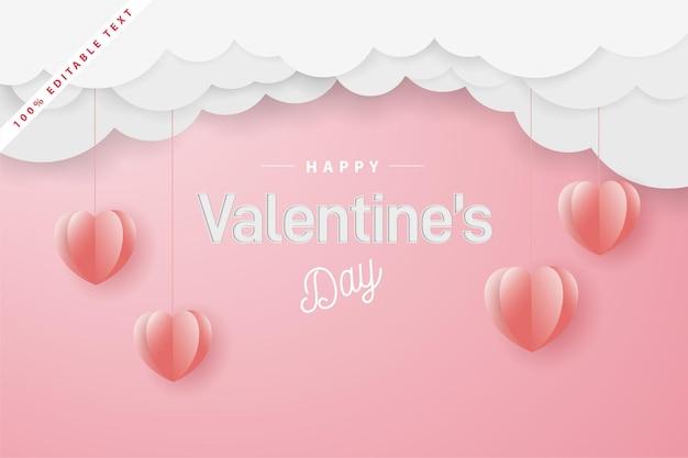 Happy valentijnsdag papier gesneden stijl.