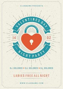 Happy valentijnsdag partij poster of folder sjabloon vectorillustratie