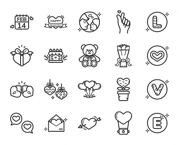 Happy valentijnsdag pictogramserie