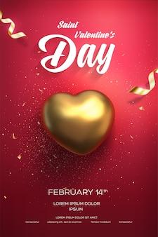 Happy valentijnsdag poster. bovenaanzicht op gouden hart