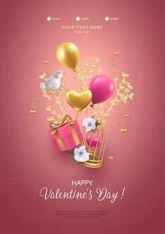 Happy valentijnsdag poster. romantische compositie met vliegende vogelkooi, geschenkdoos, porseleinen vogel en gouden boomtak